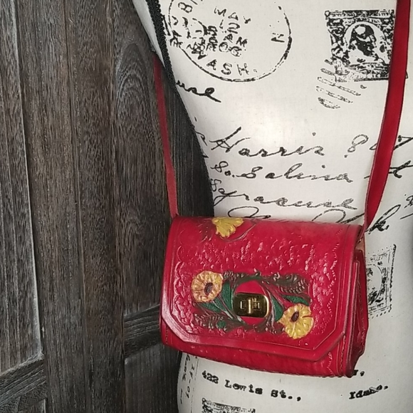 Vintage Red leather hand stitched/painted purse
